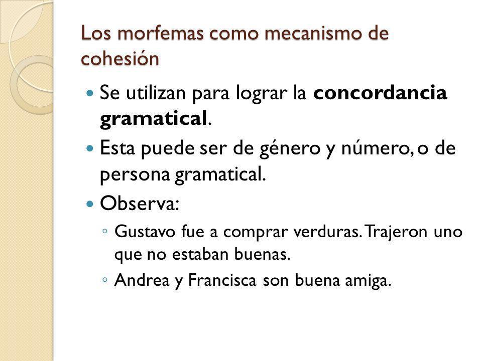 Los morfemas como mecanismo de cohesión