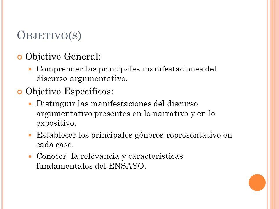 Objetivo(s) Objetivo General: Objetivo Específicos: