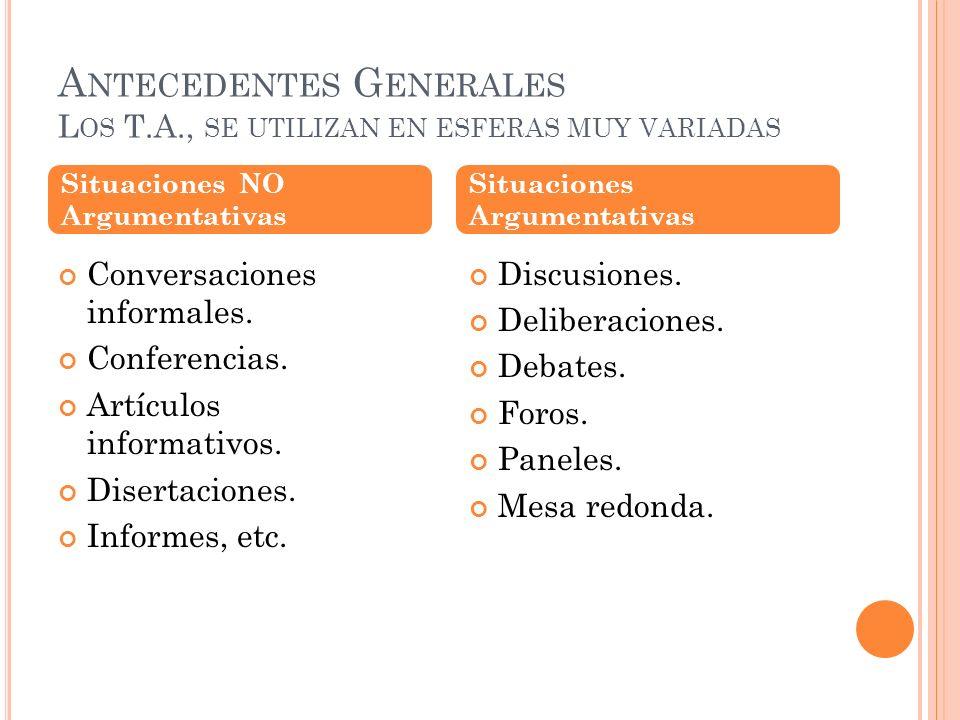 Antecedentes Generales Los T.A., se utilizan en esferas muy variadas