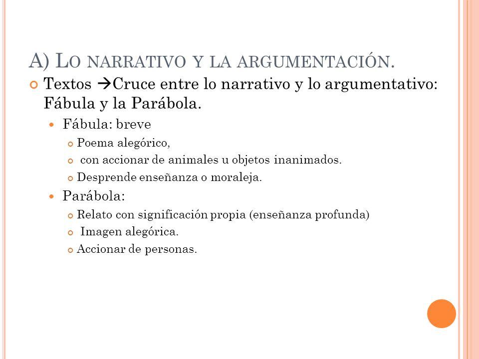 A) Lo narrativo y la argumentación.