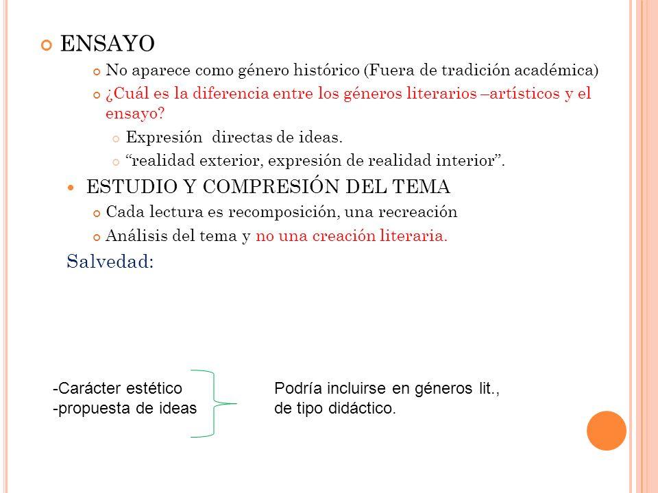 ENSAYO ESTUDIO Y COMPRESIÓN DEL TEMA Salvedad: