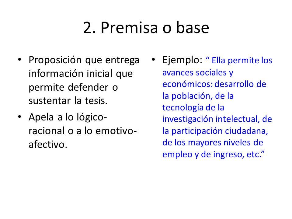 2. Premisa o baseProposición que entrega información inicial que permite defender o sustentar la tesis.