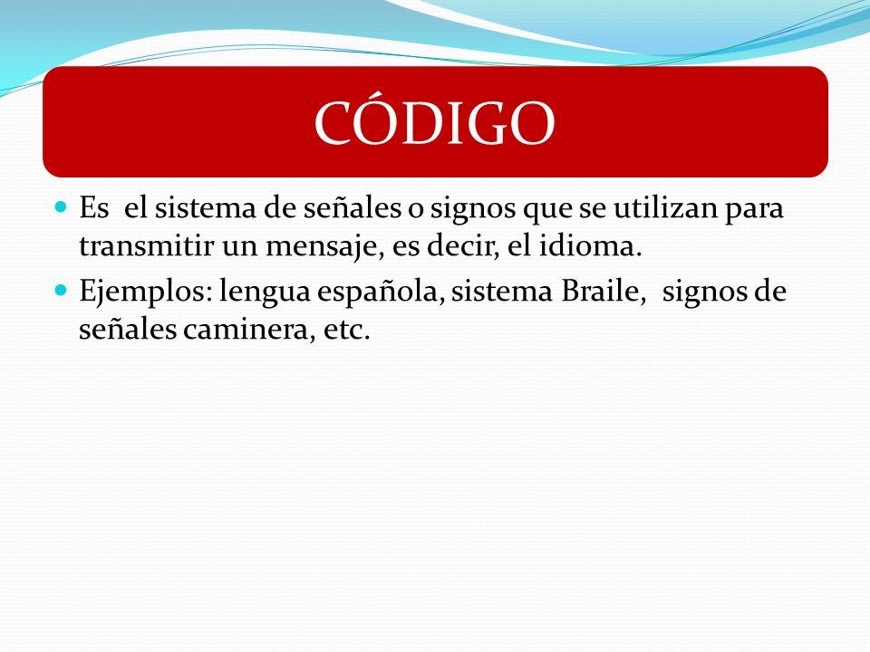 CÓDIGOEs el sistema de señales o signos que se utilizan para transmitir un mensaje, es decir, el idioma.