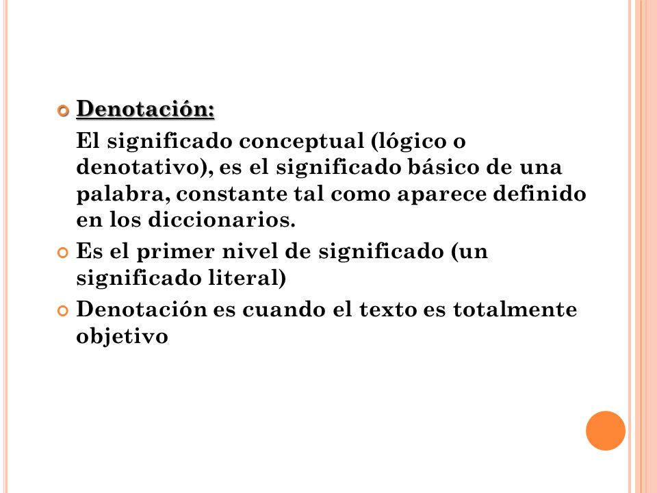 Denotación: