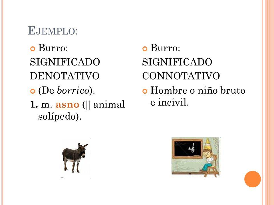Ejemplo: Burro: SIGNIFICADO DENOTATIVO (De borrico).