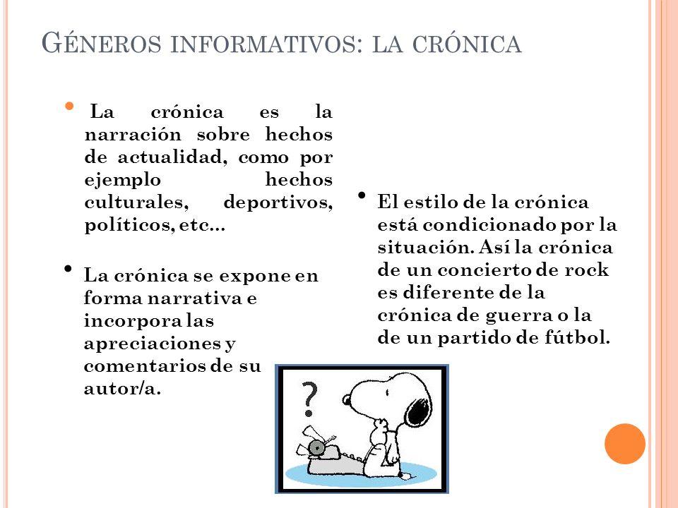 Géneros informativos: la crónica