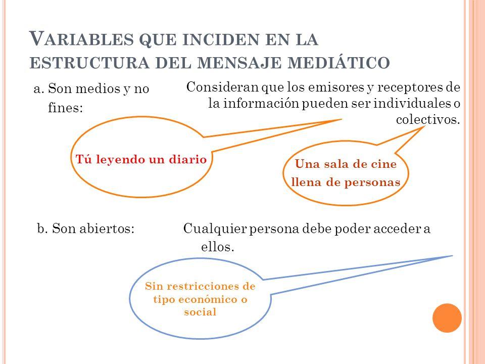 Variables que inciden en la estructura del mensaje mediático