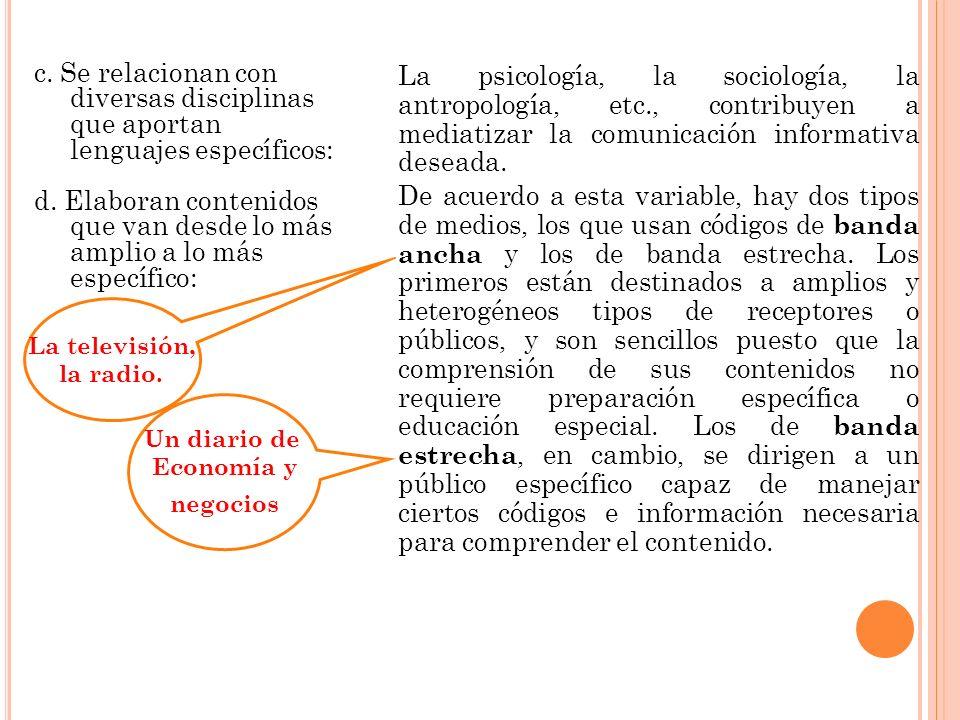 c. Se relacionan con diversas disciplinas que aportan lenguajes específicos: