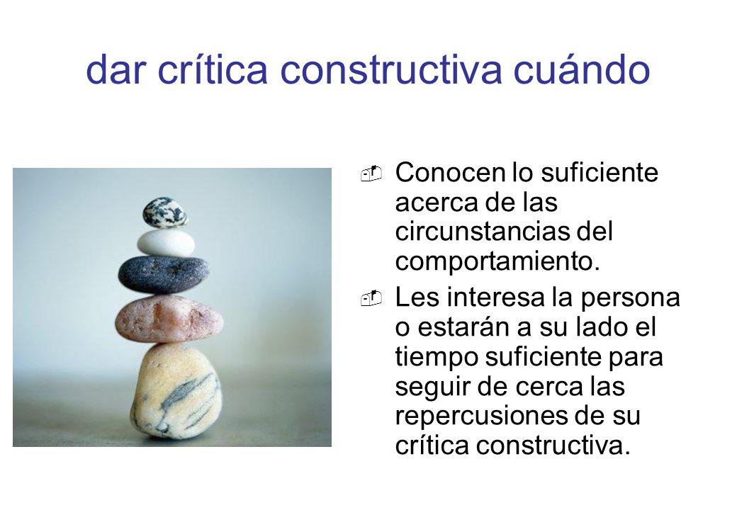 dar crítica constructiva cuándo