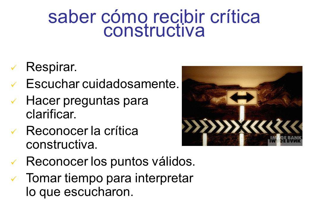saber cómo recibir crítica constructiva