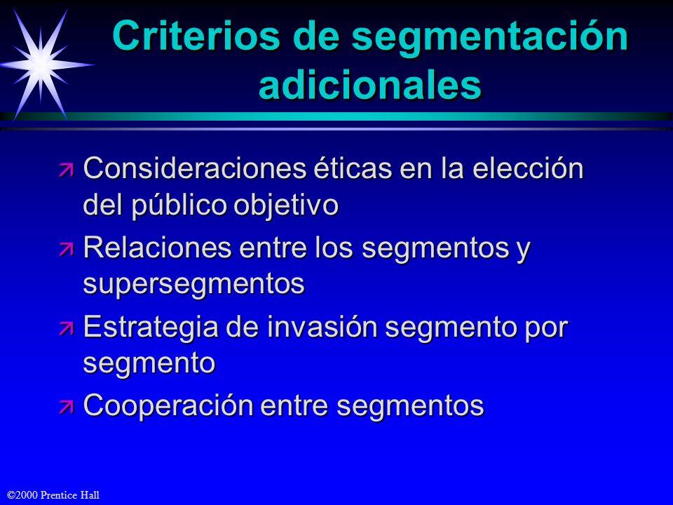 Criterios de segmentación adicionales