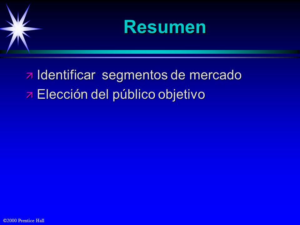 Resumen Identificar segmentos de mercado Elección del público objetivo