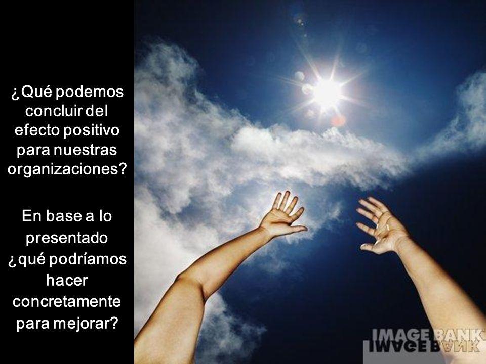 ¿Qué podemos concluir del efecto positivo para nuestras organizaciones