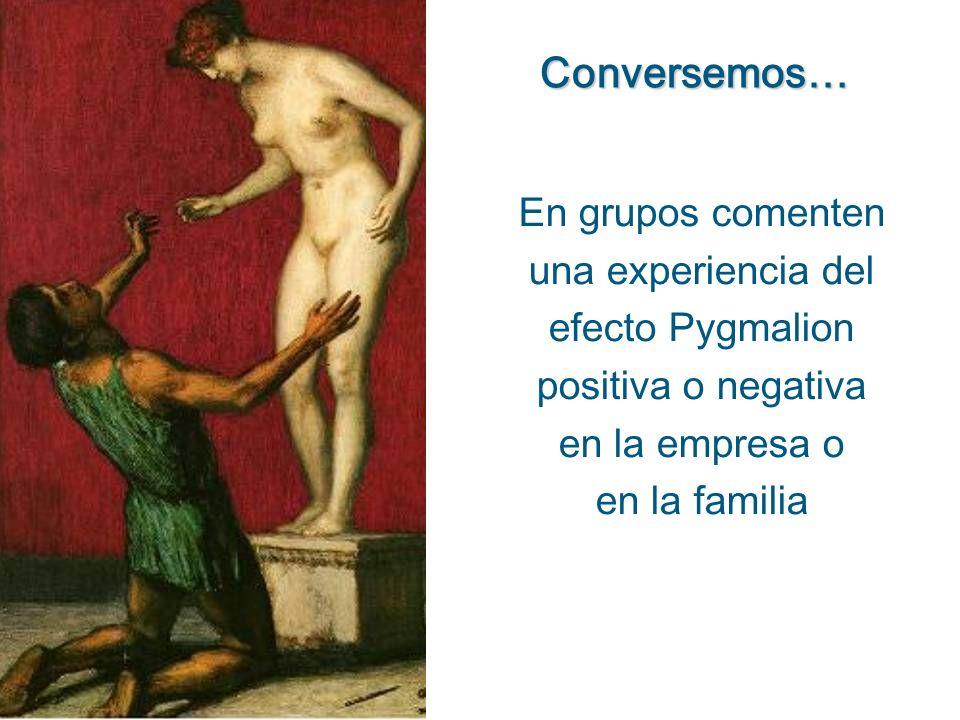 Conversemos…En grupos comenten una experiencia del efecto Pygmalion positiva o negativa. en la empresa o.