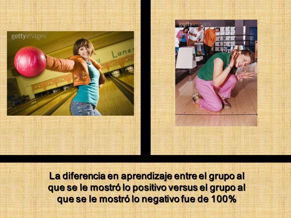 La diferencia en aprendizaje entre el grupo al que se le mostró lo positivo versus el grupo al que se le mostró lo negativo fue de 100%