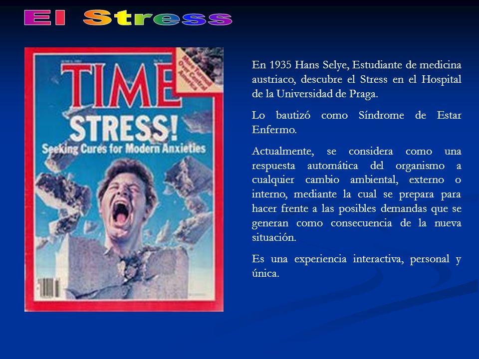El Stress En 1935 Hans Selye, Estudiante de medicina austriaco, descubre el Stress en el Hospital de la Universidad de Praga.