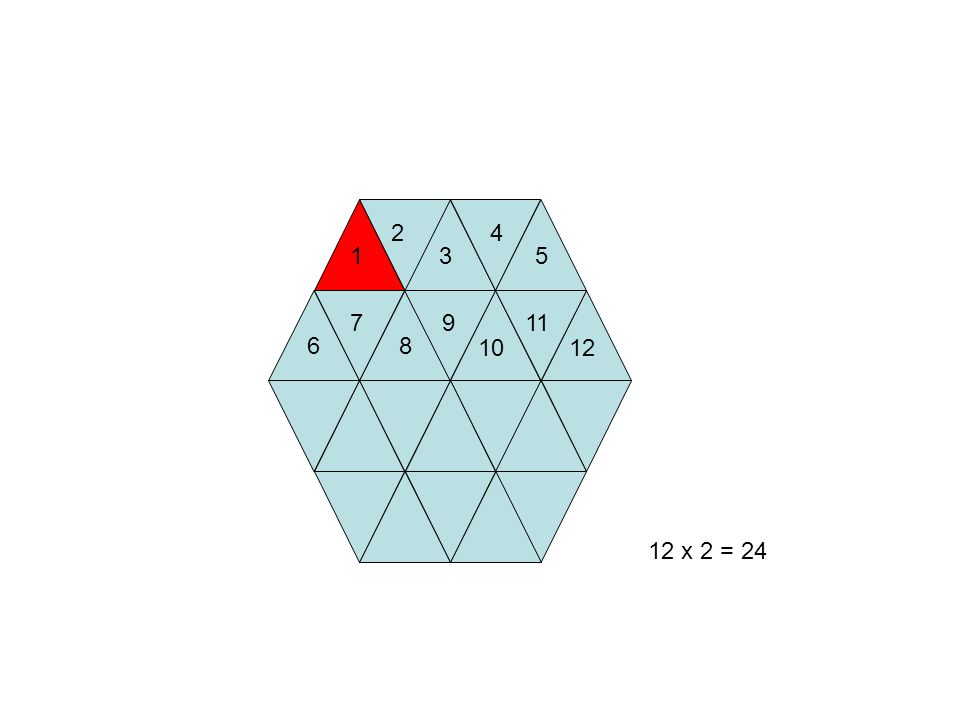 2 4 1 3 5 7 9 11 6 8 10 12 12 x 2 = 24 19
