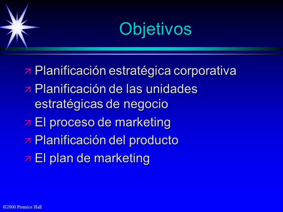 Objetivos Planificación estratégica corporativa