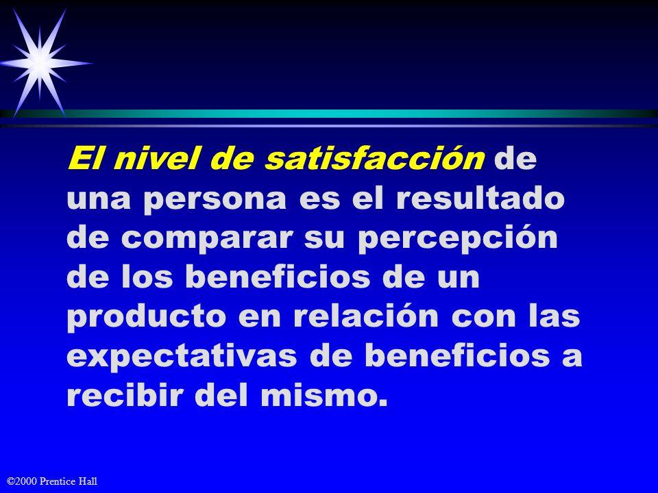 El nivel de satisfacción de una persona es el resultado de comparar su percepción de los beneficios de un producto en relación con las expectativas de beneficios a recibir del mismo.