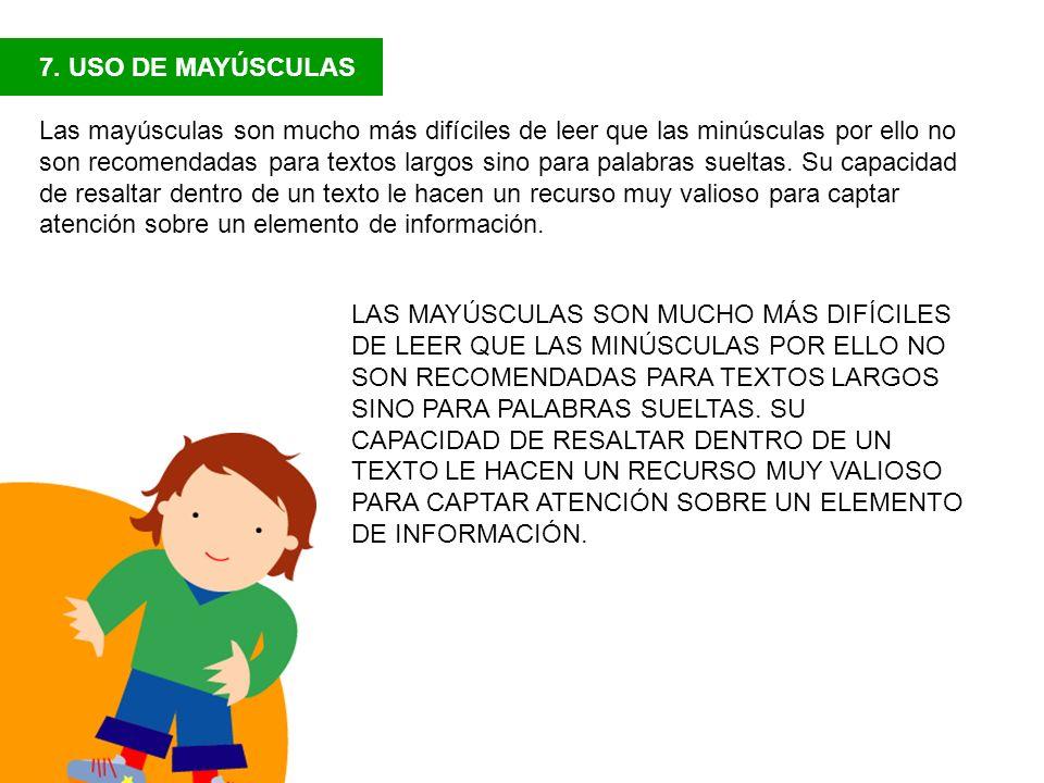 7. USO DE MAYÚSCULAS