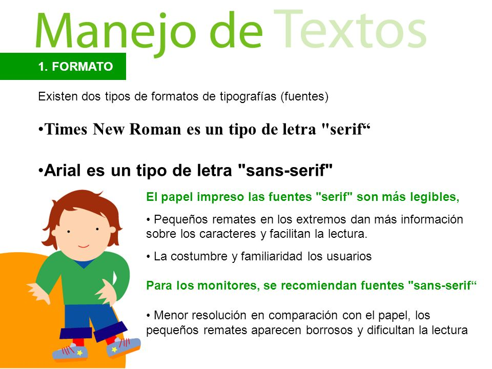 Times New Roman es un tipo de letra serif