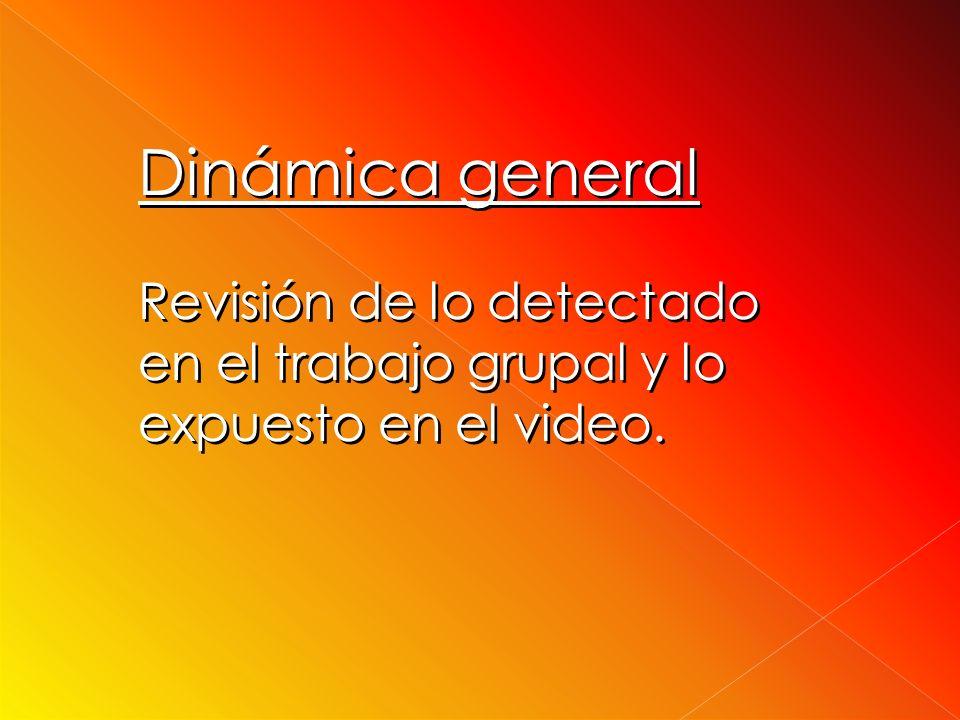 Dinámica general Revisión de lo detectado en el trabajo grupal y lo expuesto en el video.