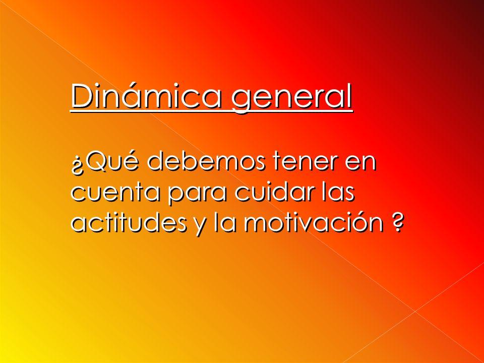 Dinámica general ¿Qué debemos tener en cuenta para cuidar las actitudes y la motivación