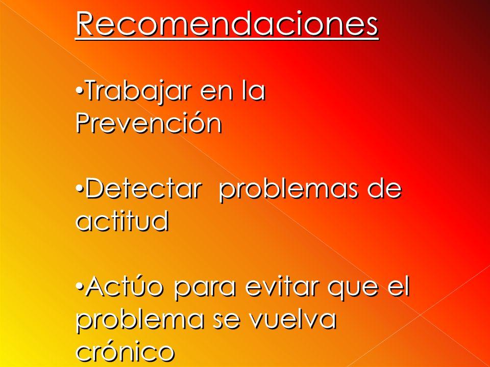 Recomendaciones Trabajar en la Prevención