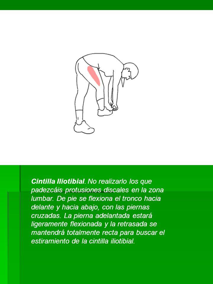 Cintilla Iliotibial. No realizarlo los que padezcáis protusiones discales en la zona lumbar.