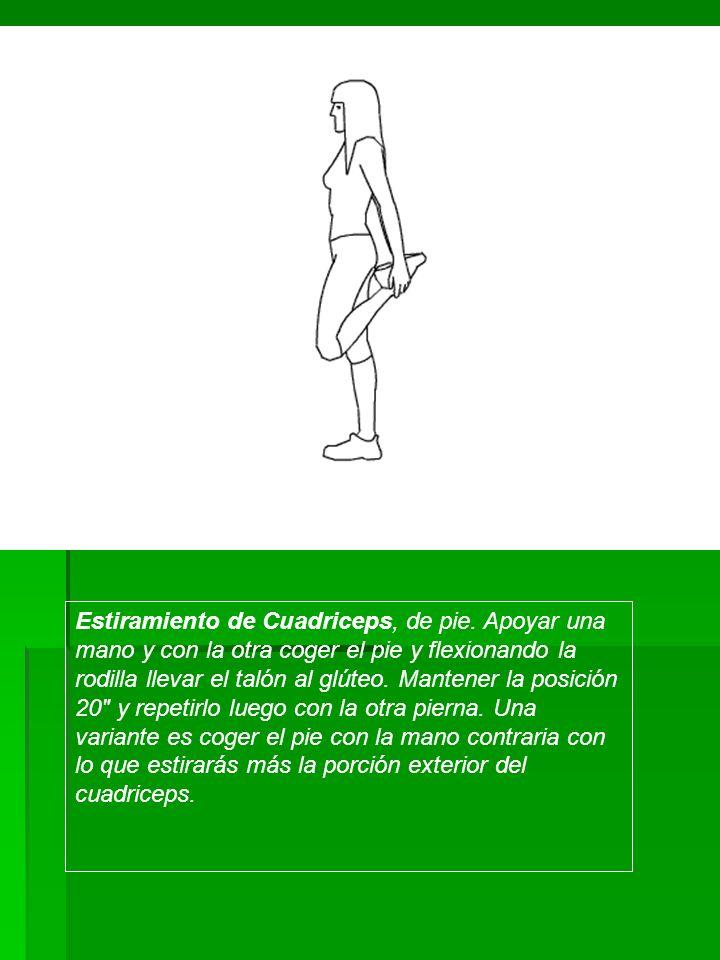 Estiramiento de Cuadriceps, de pie