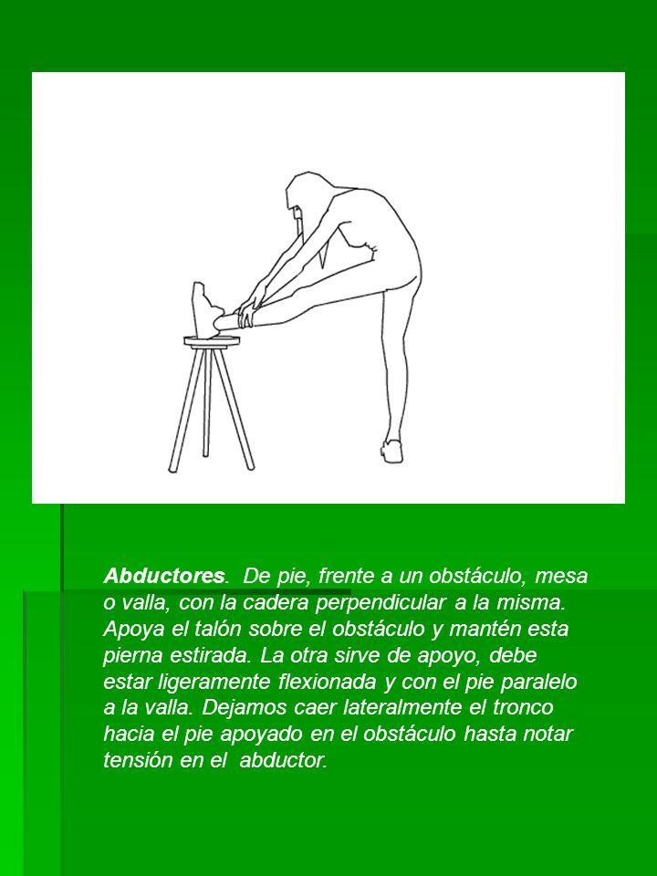 Abductores. De pie, frente a un obstáculo, mesa o valla, con la cadera perpendicular a la misma.