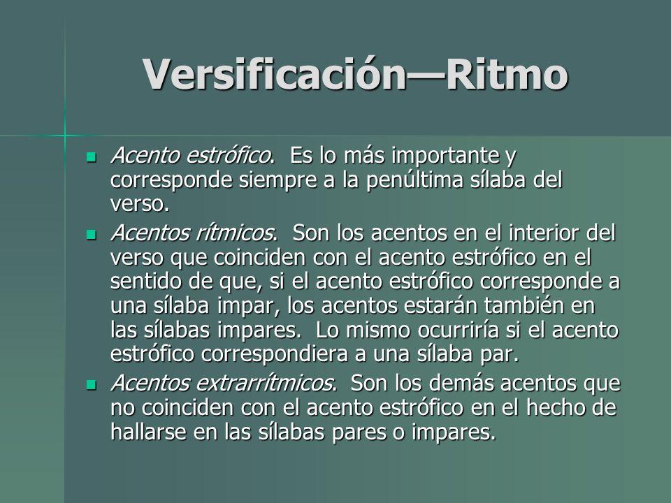 Versificación—Ritmo Acento estrófico. Es lo más importante y corresponde siempre a la penúltima sílaba del verso.