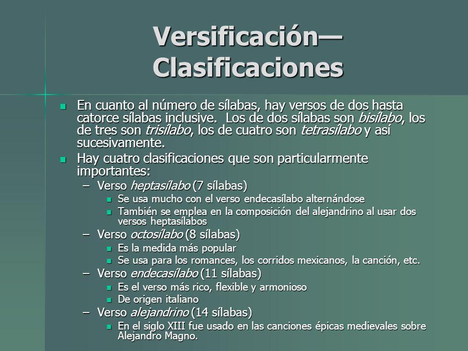 Versificación— Clasificaciones