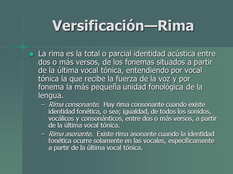 Versificación—Rima