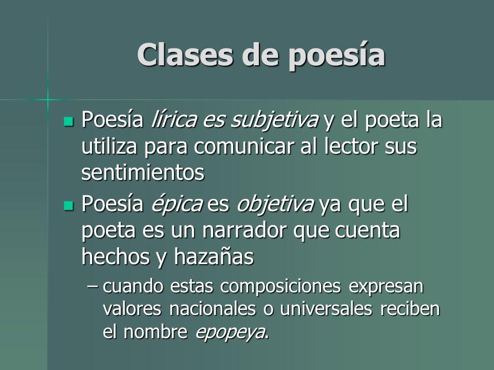 Clases de poesía Poesía lírica es subjetiva y el poeta la utiliza para comunicar al lector sus sentimientos.