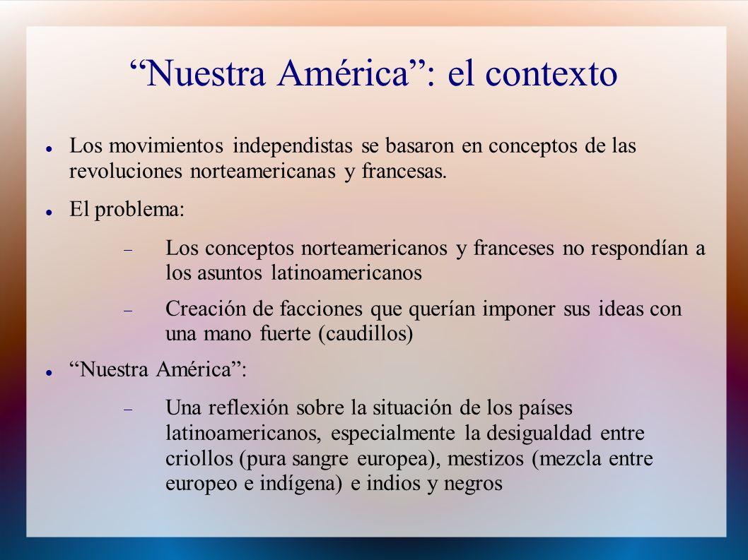 Nuestra América : el contexto