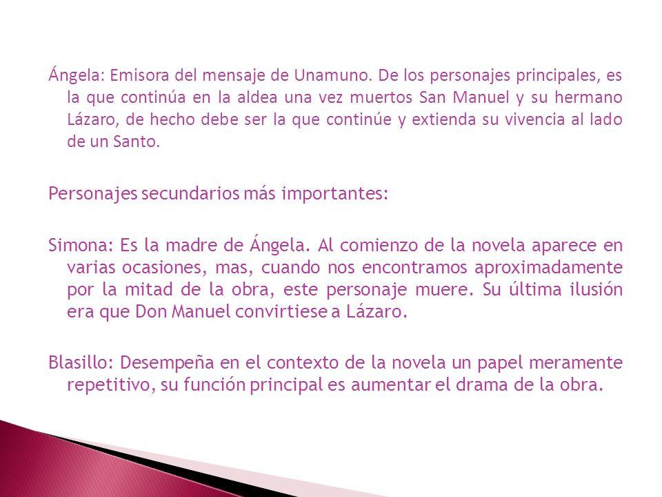 Ángela: Emisora del mensaje de Unamuno