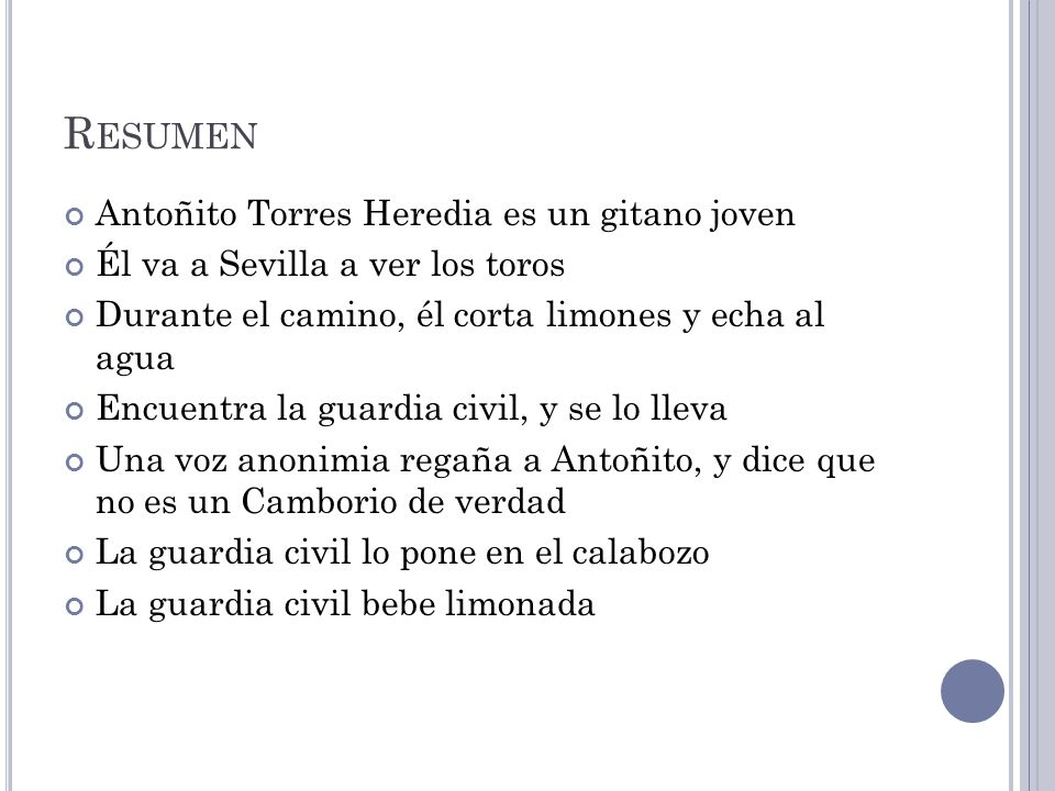 Resumen Antoñito Torres Heredia es un gitano joven