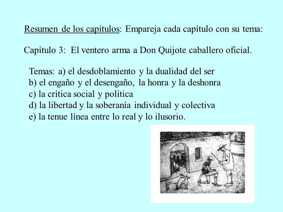 Capítulo 3: El ventero arma a Don Quijote caballero oficial.