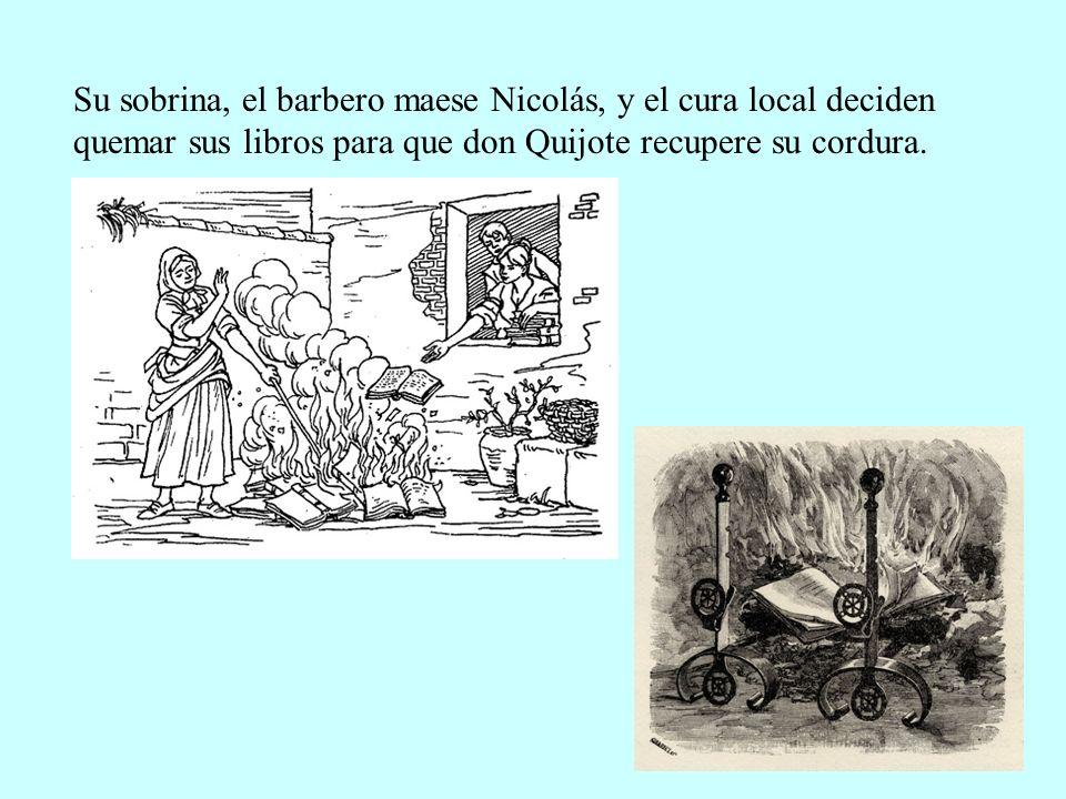 Su sobrina, el barbero maese Nicolás, y el cura local deciden quemar sus libros para que don Quijote recupere su cordura.