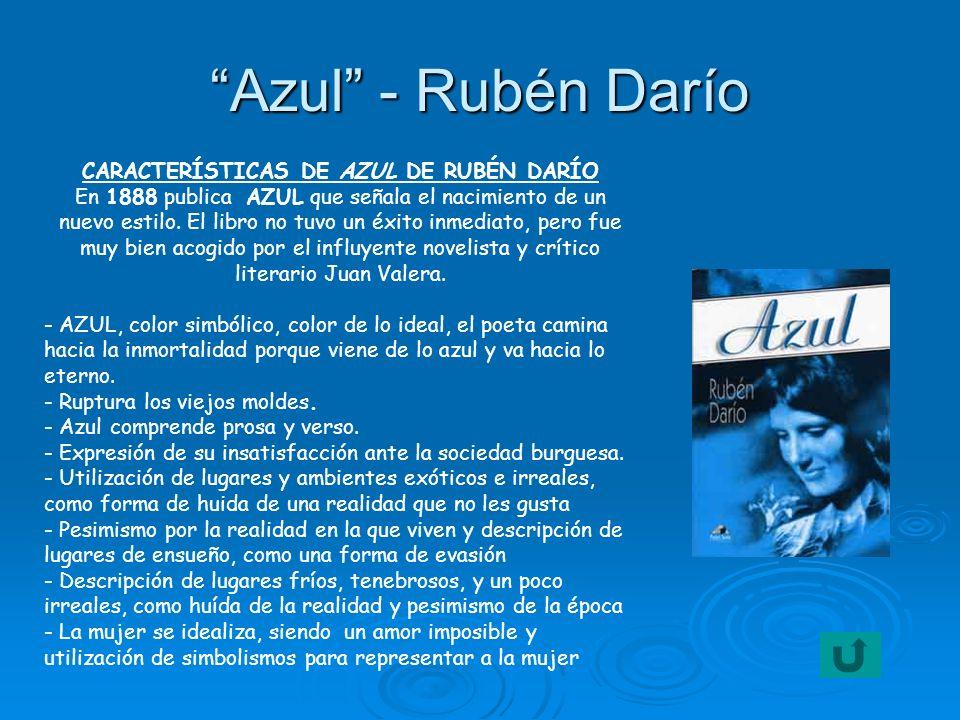 CARACTERÍSTICAS DE AZUL DE RUBÉN DARÍO