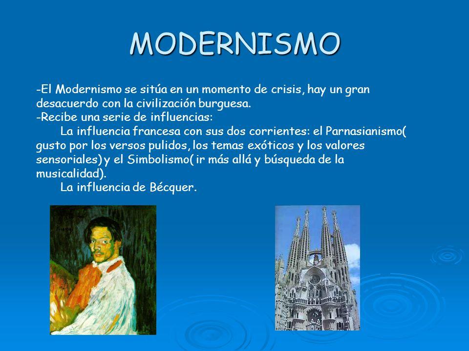 MODERNISMO -El Modernismo se sitúa en un momento de crisis, hay un gran desacuerdo con la civilización burguesa.