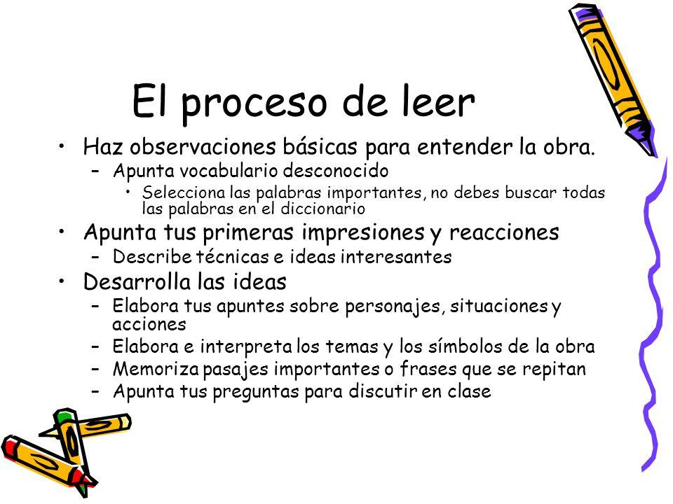 El proceso de leer Haz observaciones básicas para entender la obra.