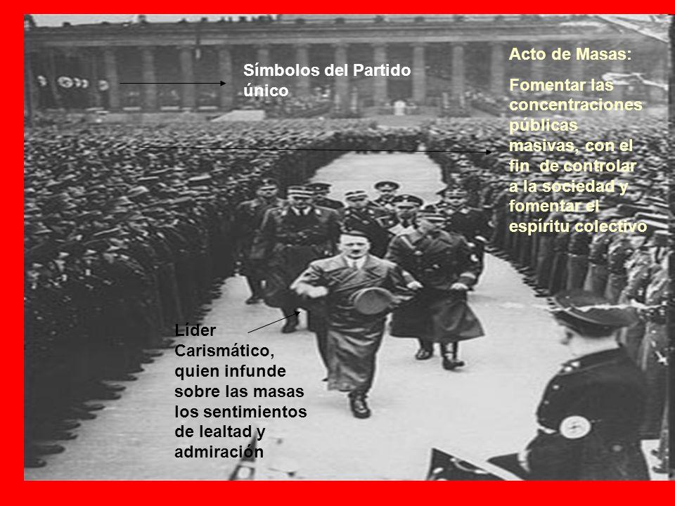 Acto de Masas: Fomentar las concentraciones públicas masivas, con el fin de controlar a la sociedad y fomentar el espíritu colectivo.