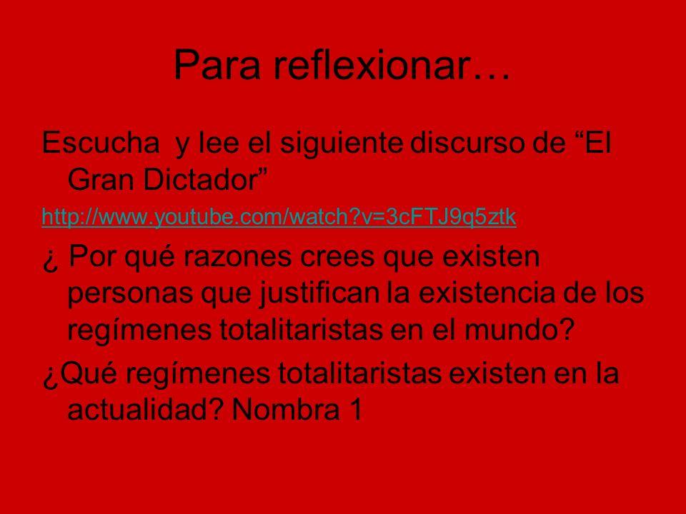 Para reflexionar… Escucha y lee el siguiente discurso de El Gran Dictador http://www.youtube.com/watch v=3cFTJ9q5ztk.