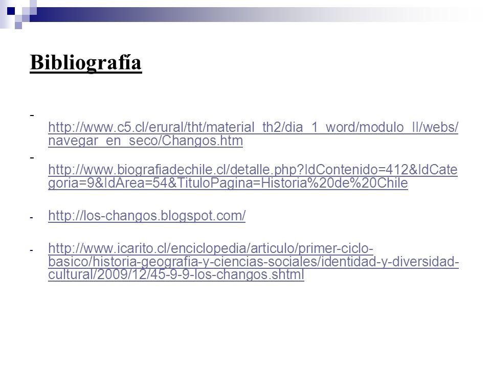 Bibliografía -http://www.c5.cl/erural/tht/material_th2/dia_1_word/modulo_II/webs/navegar_en_seco/Changos.htm.
