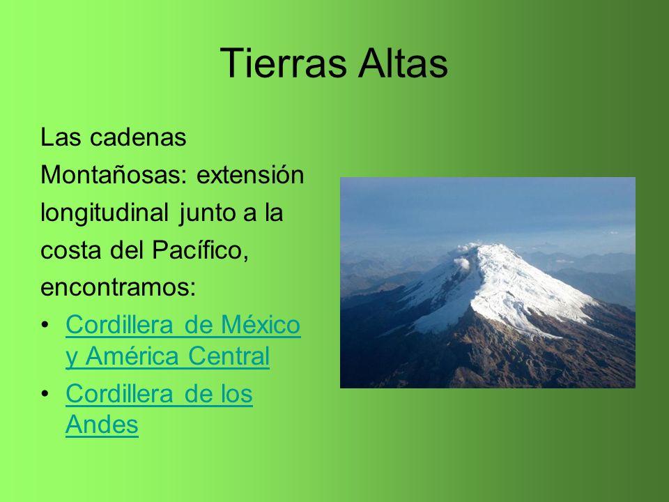 Tierras Altas Las cadenas Montañosas: extensión