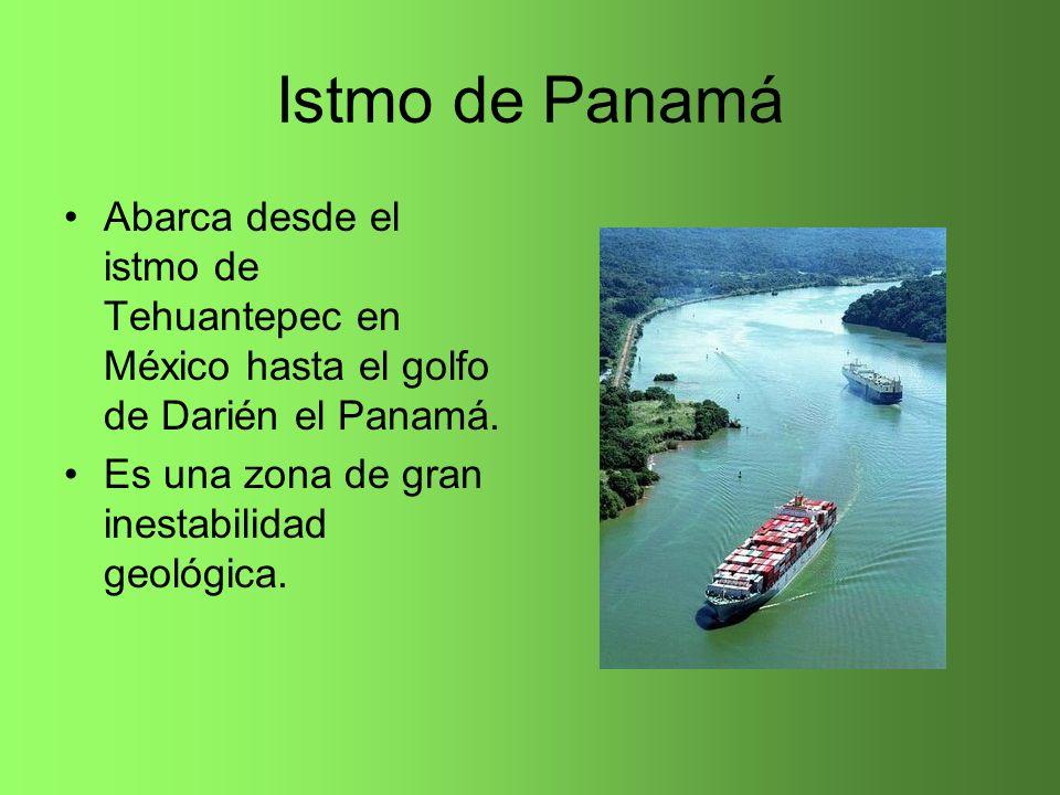 Istmo de Panamá Abarca desde el istmo de Tehuantepec en México hasta el golfo de Darién el Panamá.