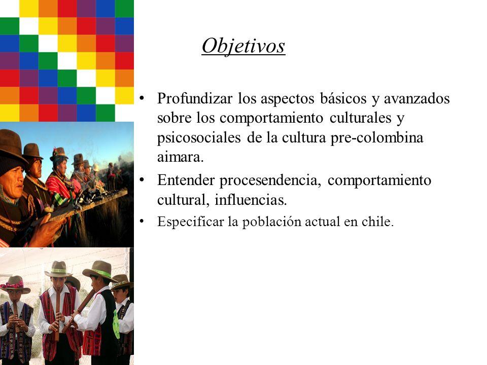 Objetivos Profundizar los aspectos básicos y avanzados sobre los comportamiento culturales y psicosociales de la cultura pre-colombina aimara.