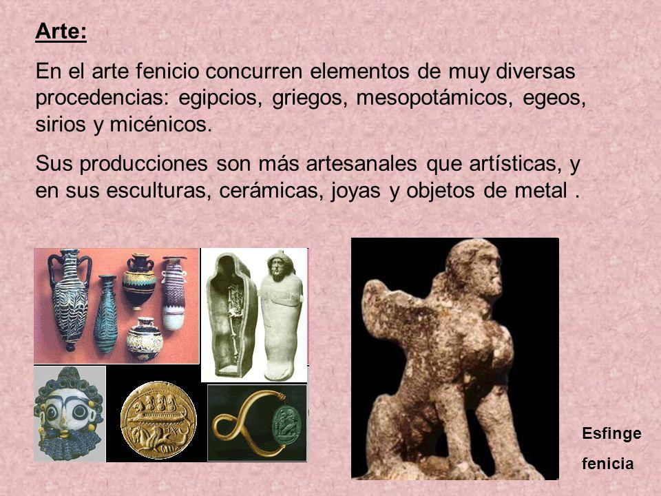 Arte: En el arte fenicio concurren elementos de muy diversas procedencias: egipcios, griegos, mesopotámicos, egeos, sirios y micénicos.